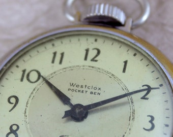 Vintage Westclox Pocket Ben Pocket Watch  -  Manufactured in Canada October 1936