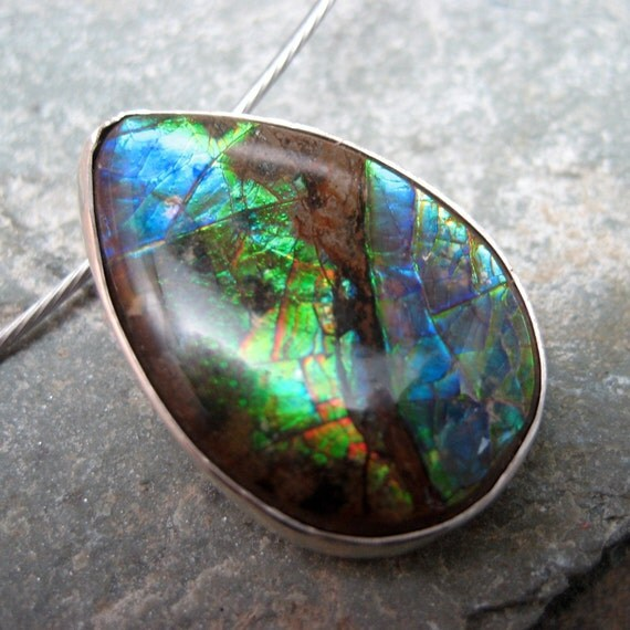 Sterling Silver and Tear Drop Shape Ammolite Pendant  - Hand Made Silver Artisan Jewellery - Designed by A Second Time