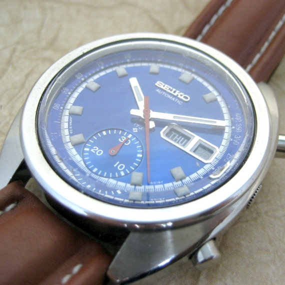 Vintage Seiko 17 Jewel Automatic Movement Watch with Day Date Chronograph Model 6139-6015