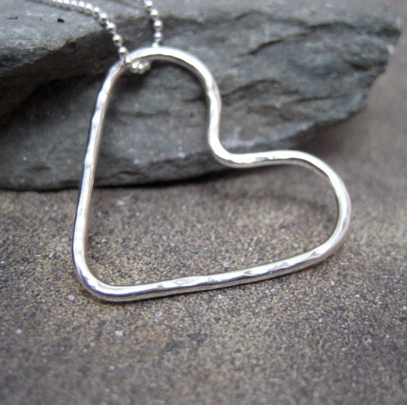 Sterling Silver Floating Heart Pendant - Handmade Silver Artisan Jewelry - Designed by A Second Time