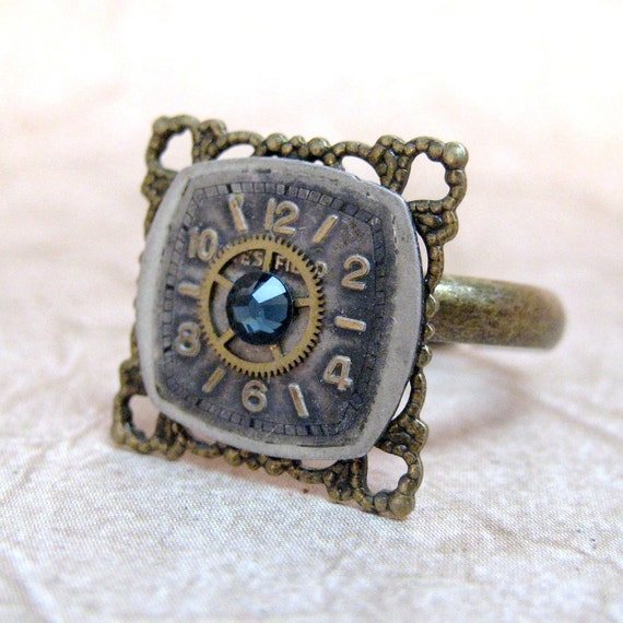 Steampunk Ring - Denim Blue - Neo Victorian Gold Tone Filigree - Vintage Repurposed Watch Dial and Gear Jewelry - Handmade and Designed by A Second Time