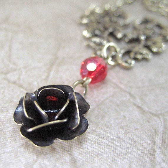 Rose Necklace - Ruby Red Crystal Accent - Neo Victorian Inspired Vintage Look Jewelry - Handmade and Designed by A Second Time