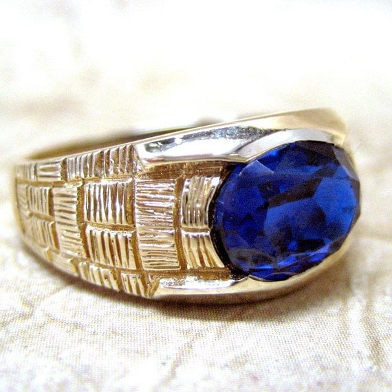 Vintage Mens 10K Gold  and Synthetic Blue Sapphire Ring Circa 1970's - from A Second Time