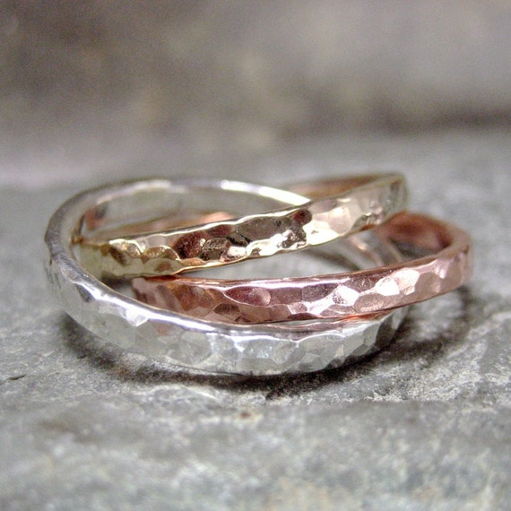 Intertwined Rolling Rings - Sterling Silver Copper and 14K Yellow Gold Filled  - Tri Color Band - Wedding Band - Best Friends