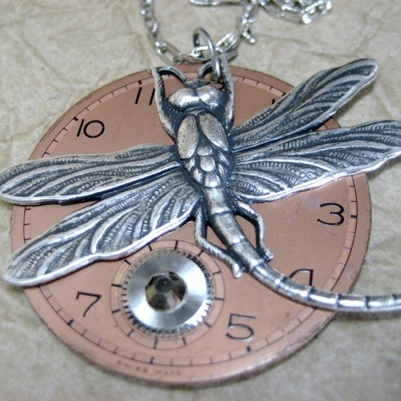 Steampunk Necklace - The Big Time - Vintage Repurposed Pocket Watch Dial Jewelry - Handmade and Designed by A Second Time