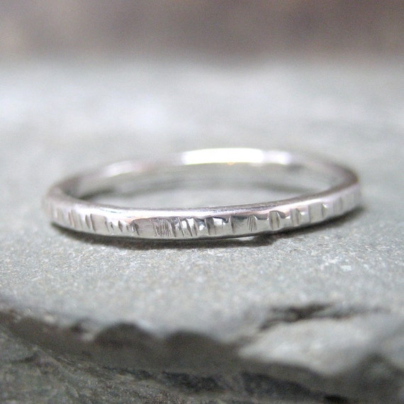 Sterling Silver Stacking Ring - Textured - Hand Made Silver Artisan Jewellery - Designed by A Second Time