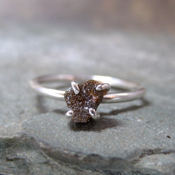 Raw Uncut Diamond Engagement Ring - Sterling Silver - Stacking Rings - Chocolate Rough Diamond Ring - April Birthstone - Anniversary Ring