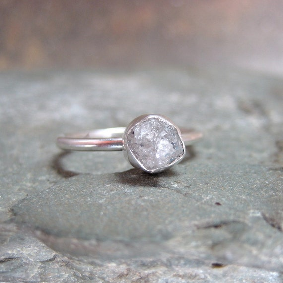 Rough Diamond Solitaire Ring Bezel Set in Sterling Silver - Silver Artisan Jewellery - Handmade and Designed by A Second Time