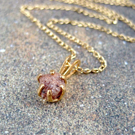 Raw Uncut Rough Diamond Pendant  -  Artisan Made Jewelry - Designed by A Second Time