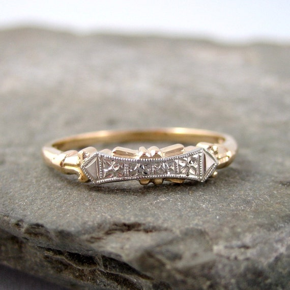 Retro Wedding Ring - Vintage 14K/18K Gold Wedding Band -  Circa 1960's - Vintage Jewellery from A Second Time
