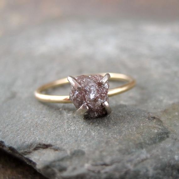 Raw Uncut Rough Diamond Engagement Ring  - 14K Yellow Gold Engagement Ring -  Rough Diamond Gemstone Ring