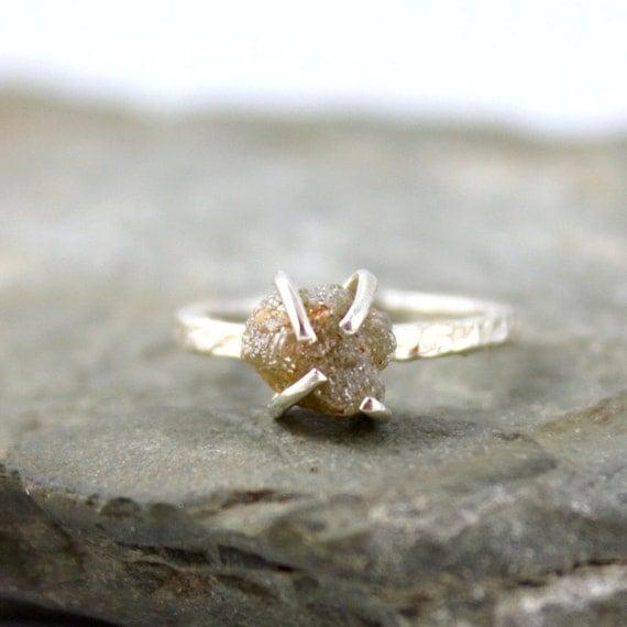 Three Carat Raw Diamond Ring - Engagement Ring - Sterling Silver Wedding Ring - Anniversary Ring - April Birthstone - Raw Gemstone Rings
