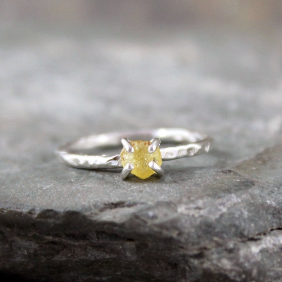 Uncut Raw Rough Yellow Sapphire Ring - Sterling Silver Solitaire  -  Artisan Jewellery - Handmade and Designed by A Second Time