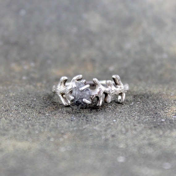 Raw Uncut Rough Diamond Solitaire and 925 Sterling Silver Twig Branch Ring -  Artisan Jewellery - Handmade and Designed by A Second Time