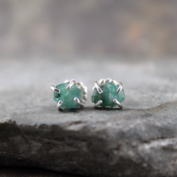 Uncut Raw Rough Emerald Earrings - Sterling Silver Stud Style - Rustic Round Shape - Handmade and Designed by A Second Time