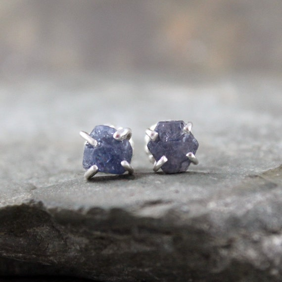 Uncut Raw Rough Blue Sapphire Earrings - Sterling Silver Stud Style - Rustic Round Shape - Handmade and Designed by A Second Time