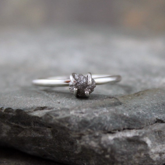 Uncut Rough Diamond Ring - Sterling Silver -  Engagement Ring - Silver Artisan Jewellery - Handmade and Designed by A Second Time