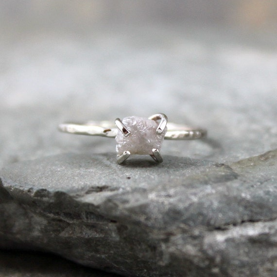 Diamond In The Rough Engagement Ring - One Carat Rough Uncut Diamond and 10K White Gold Ring - Handmade and Designed by A Second Time