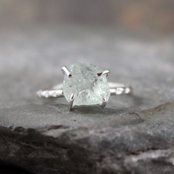 Aquamarine Sterling Silver Ring - Raw Uncut Rough Aquamarine - Handmade and Designed by A Second Time