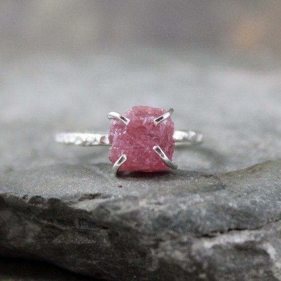 Pink Sapphire Ring -  Raw Uncut Pink Sapphire - Sterling Silver Solitaire  -  Artisan Jewellery - Handmade and Designed by A Second Time