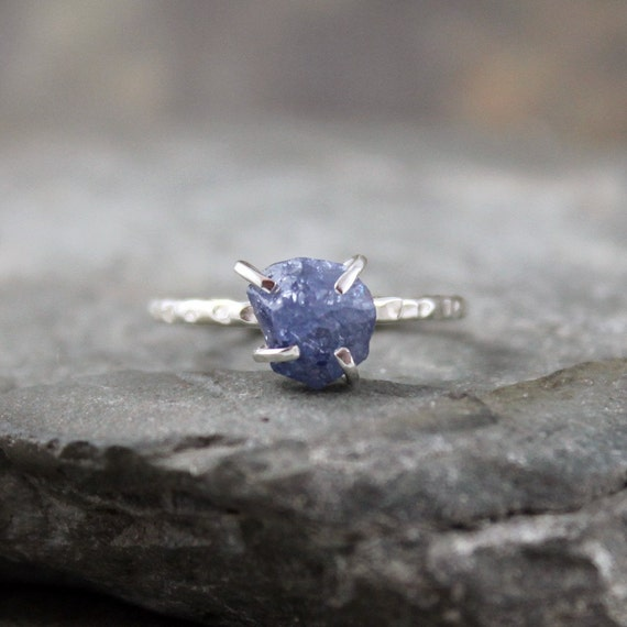 Uncut Raw Rough Blue Sapphire Ring - Sterling Silver Solitaire  -  Artisan Jewellery - Handmade and Designed by A Second Time