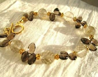 Golden Rutilated Quartz and Smokey Quartz Bracelet
