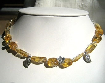 Citrine, Leaves and Flowers Necklace