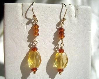 Sweet Citrine and Hessonite Garnet Earrings