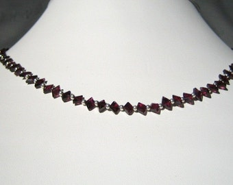 Dainty Garnet and Silver Necklace