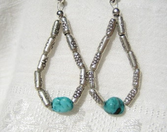 Turquoise and Hill Tribe Silver Earrings