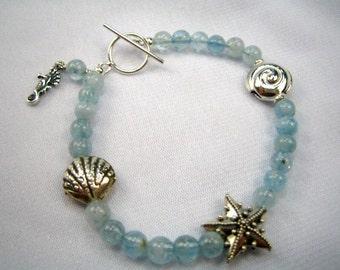 Aquamarine Silver Seashells Bracelet