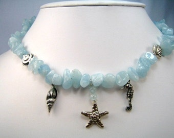 Going to the Beach Aquamarine Seashells Necklace
