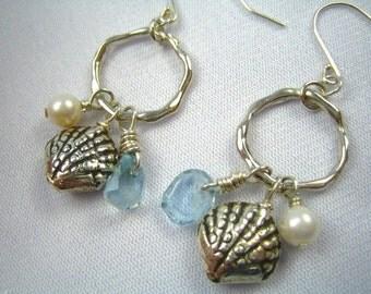 Aquamarine, Scallop Shell and Pearl Earrings