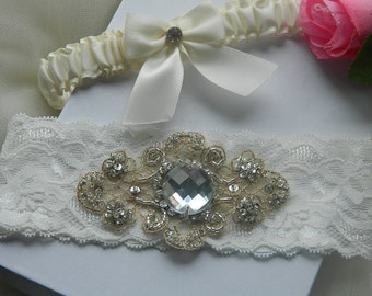 Bride Garter Set ,Vintage Lace Wedding Garter, Couture Wedding Garter