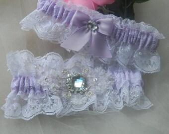 Wedding Garter Set, Lavender And White Lace Garter,Bridal Garter