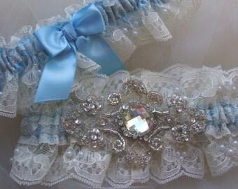 Wedding Garter,Light Blue Garter, Blue Garter Set, Heirloom Garter-Lace Garter