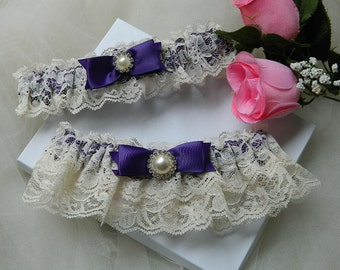 Wedding Garter Set, Bridal Garter Set, Purple Bridal Garter