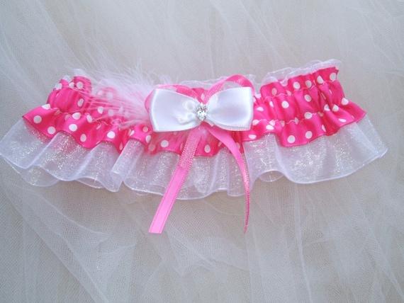 Hot pink polka dot garter