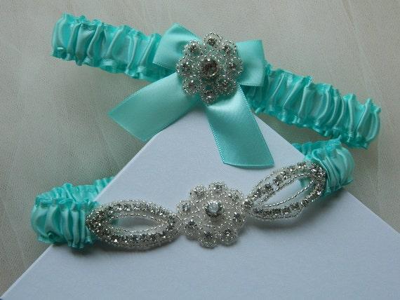 Wedding Garter Set -Aqua Blue Satin Garter -Crystal Garter Set