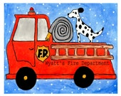 Nursery Art - Fire Truck with Dalmatian - Baby Gift for Boys - Personalized Baby Nursery Gift
