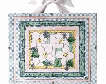 Personalized Baptism Gift / Christening Gifts - Dogwood Design