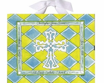 Baptism / Christening Gift - Green, Yellow and Blue