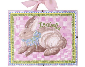 Nursery Art -  Bunny - Personalized and Framed