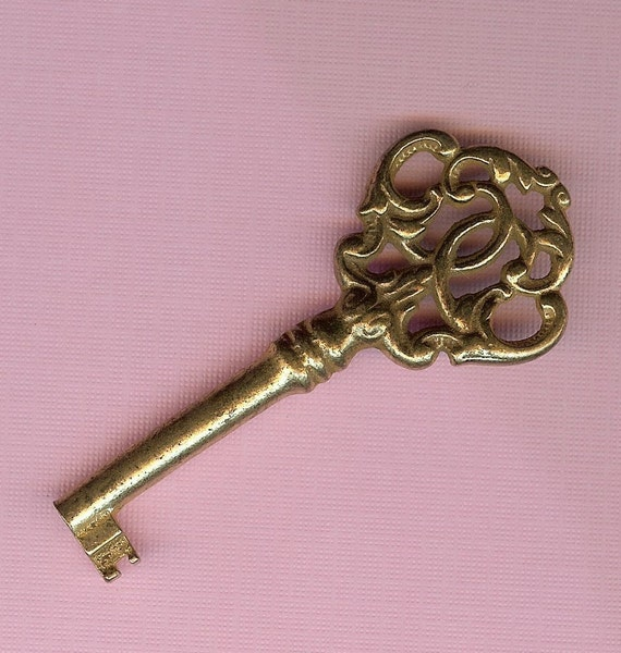 Items similar to ornate brass skeleton key antique and for Antique key art