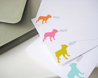 Dog Silhouette Note Cards Personalized You Design Set of 20
