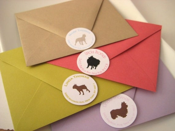 Dog silhouette address labels design your own Dog clothes design your own