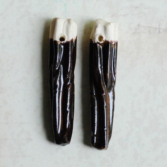 SALE Ceramic Clay Twirl Shards One Pair Dark Brown Glaze Color