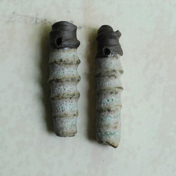 Ceramic Clay Bead Shard Pendants Chocolate Stoneware Clay in Sea Glass Glaze