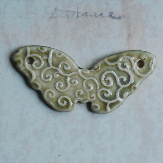 SALE Butterfly Ceramic Porcelain Pendant in Pale Olive Green Glaze