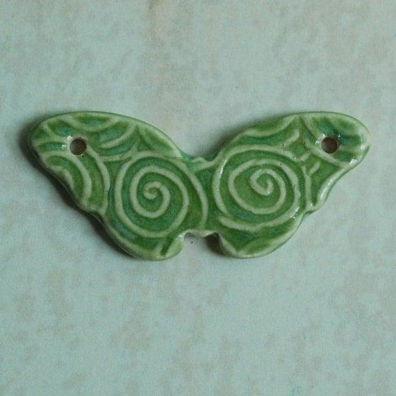 SALE Butterfly Ceramic Porcelain Pendant in Pale Fern Green Glaze
